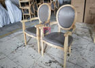 Vintage Round Back Wood Restaurant Arm Chairs Luxury Classical Chair With Button Decoration